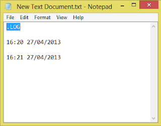 Make personal log book in notepad