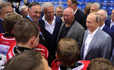 Vladimir Putin after the hockey match in Shaiba arena.