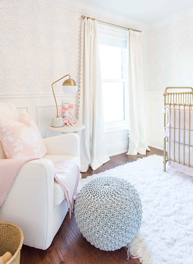 gold, white, and pink nursery colors