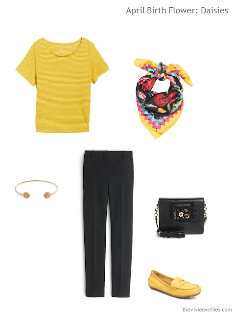 a yellow and black spring outfit with accessories
