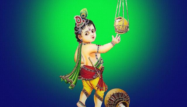 Best Bal Krishna Makhan Chor  Wallpaper In Blue Background