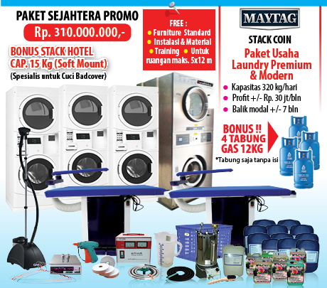 PAKET-SEJAHTERA-PROMO Sistem Laundry Koin Maytag