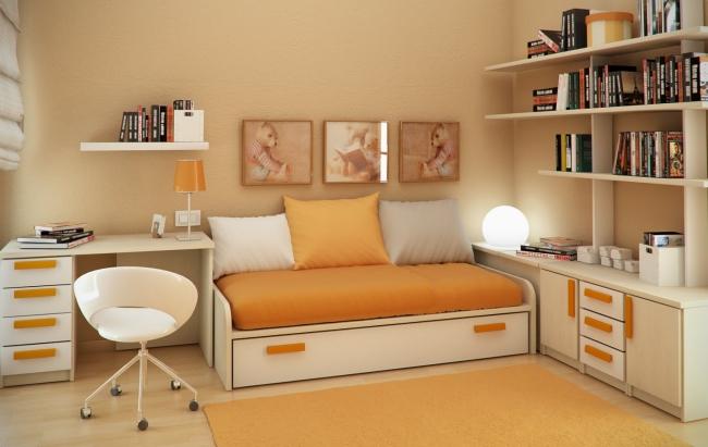 de nuevo vemos como usar la cama como asiento es la mejor manera de ganar espacio siempre situando el mximo nmero de estanteras en la pared para una