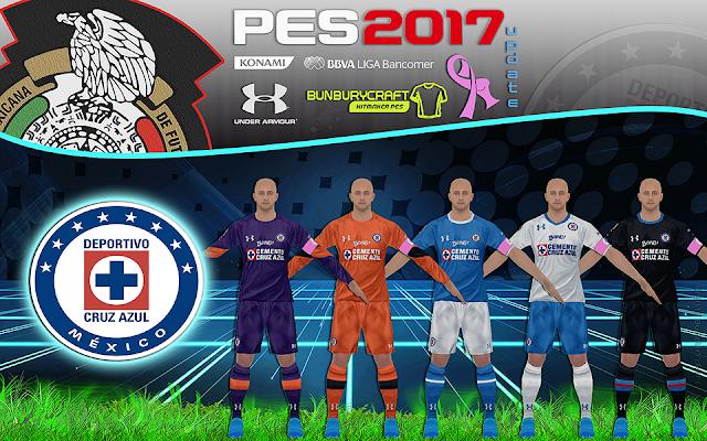 PES 2017 Update Kitset Cruz Azul Liga MX Temporada 2016-17 By BuNbUrYcRaFt