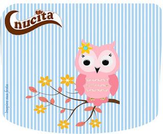 Etiquetas Nucita para Imprimir Gratis de Lindo Búho Rosa.