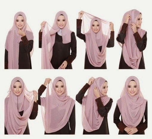 model tutorial hijab syari modern