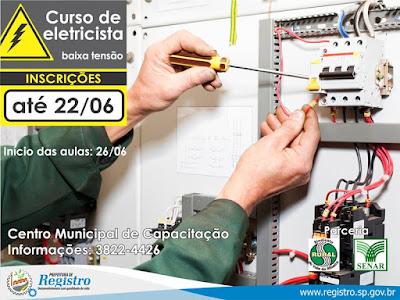 Curso de Eletricista está com as inscrições abertas em Registro-SP