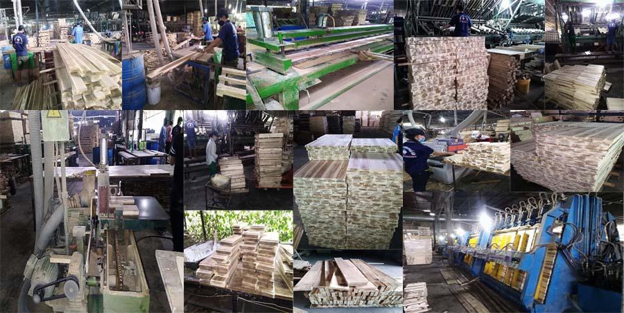 Xưởng gia công sản xuất gỗ ghép tràm