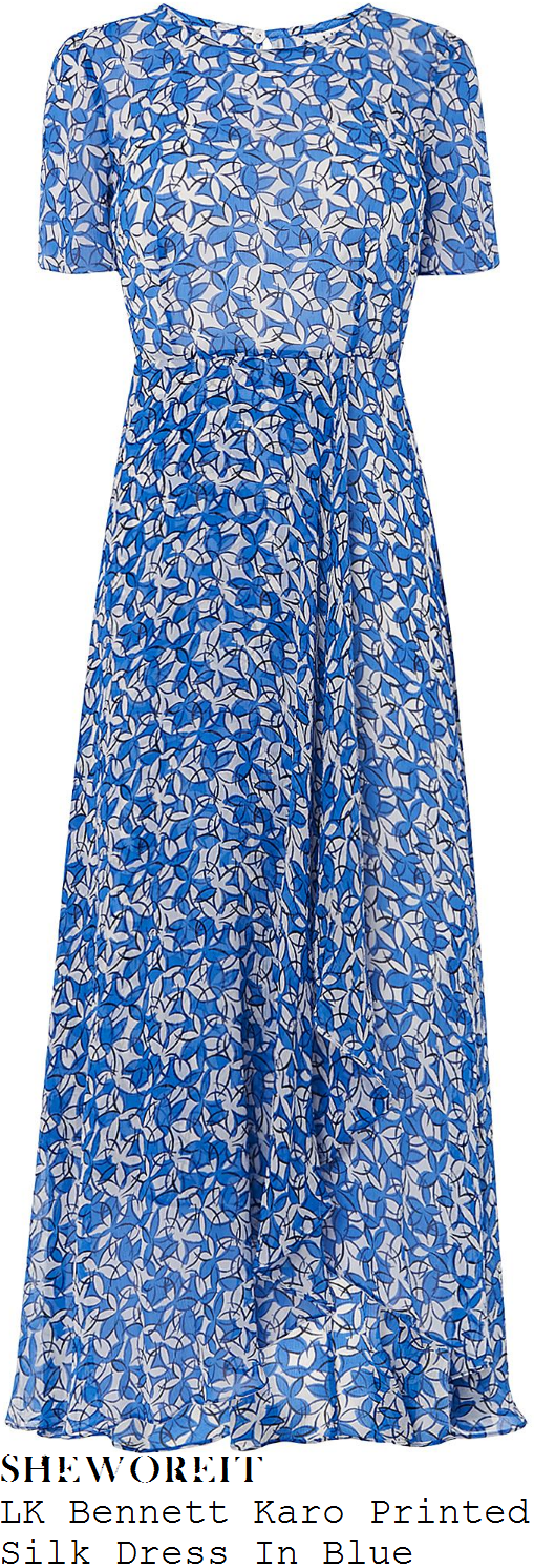 kim-murray-lk-bennett-karo-blue-white-and-black-floral-print-short-sleeve-waterfall-hem-silk-chiffon-maxi-dress
