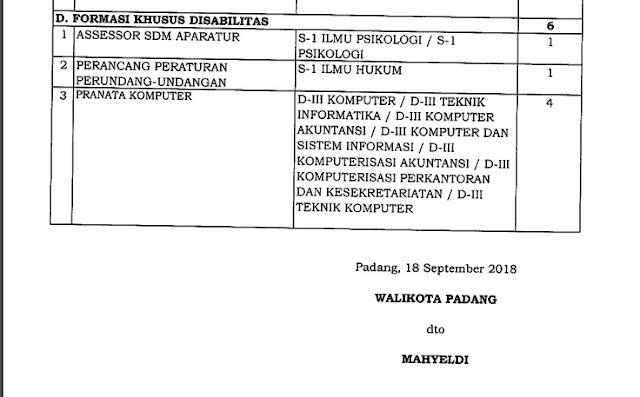 Formasi CPNS Kota Padang 2018