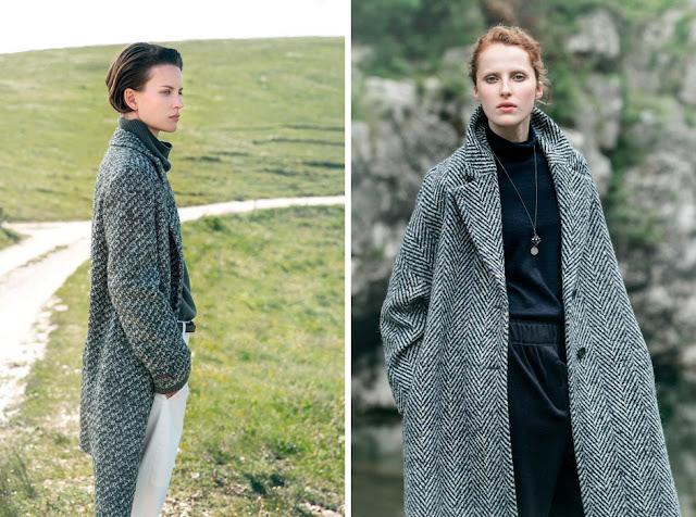 Девушки в сером твидовом пальто в елочку