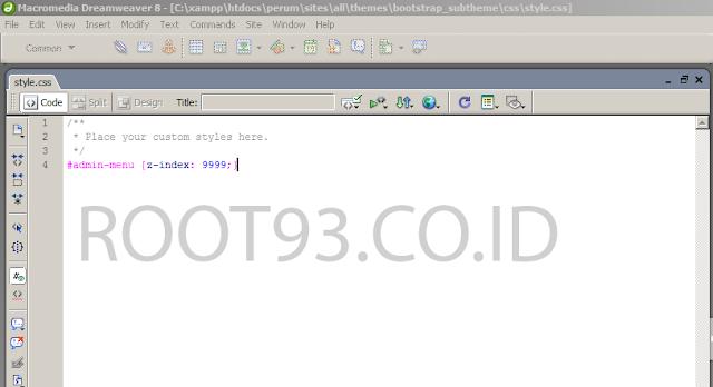 menambahkan z index pada file css bootstrap
