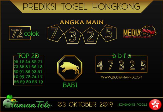 Prediksi Togel HONGKONG TAMAN TOTO 03 OKTOBER 2019