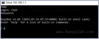 Perintah Telnet di router ZTE F609/660