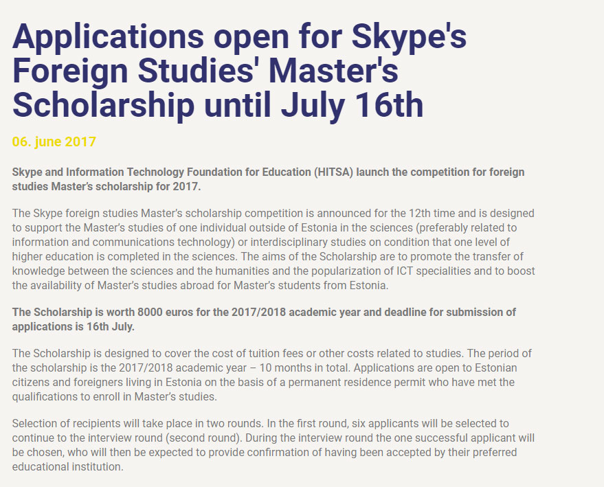 Skype Foreign Studies Masters Scholarships in Estonia and International Students