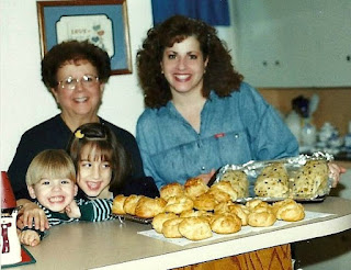 My mom, kids and me baking homemade cream puffs from Walking on Sunshine.