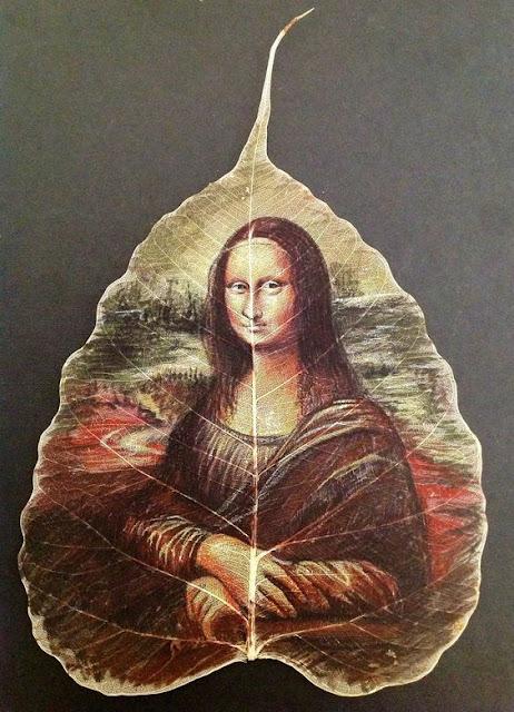 peepal leaf painting mona lisa