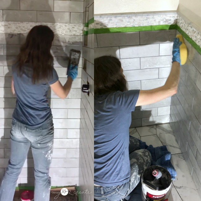 grouting a shower and bathroom wall