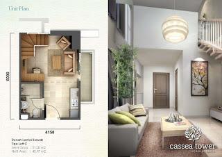 Tipe Studio 1 BR 2 BR Apartemen Casa de Parco bsd tangsel www.rumah-hook.com