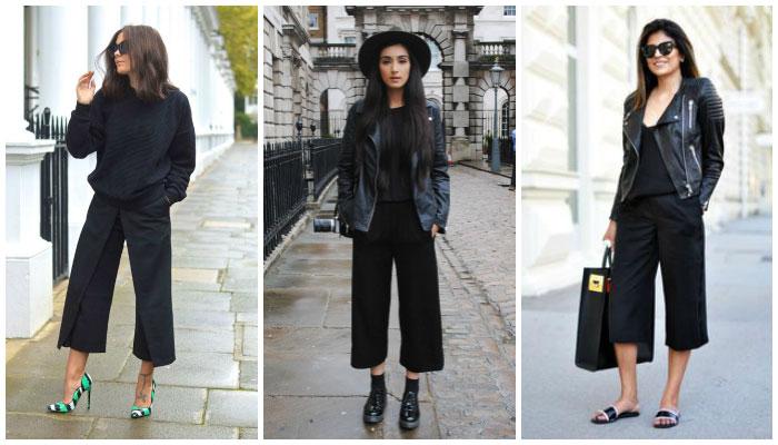 pantalones culotte total look black