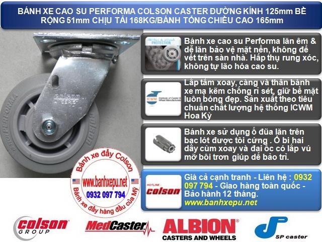 Bánh xe cao su đặc chịu lực 168kg Colson lăn không để vết | 4-5109-459 www.banhxeday.xyz