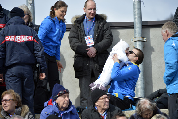Crown Princess Victoria, Prince Daniel and Princess Estelle at the FIS Nordic World Ski Championships in Val di Fiemme