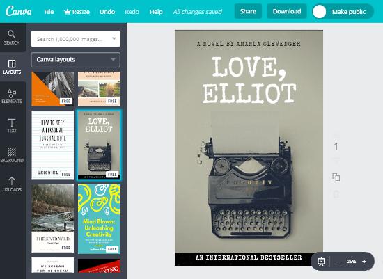 Canva-membuat sampul buku secara online gratis