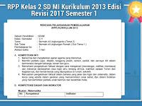 RPP Kelas 2 SD MI Kurikulum 2013 Edisi Revisi 2017 Semester 1
