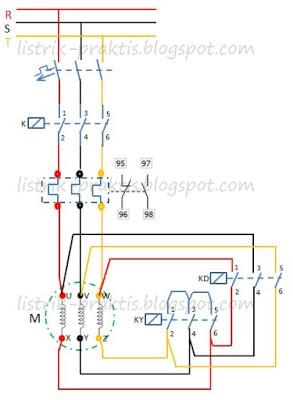 Rangkaian Star Delta Motor Listrik 3 Fasa Menggunakan PLC Listrik