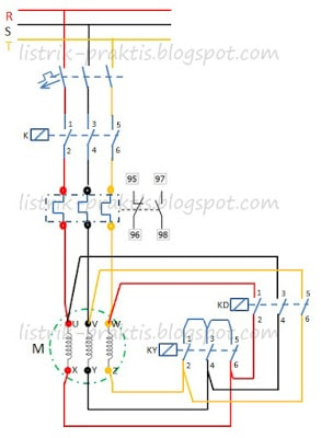 Rangkaian star delta motor listrik 3 fasa menggunakan plc listrik diagram daya starting motor listrik star delta ccuart Image collections