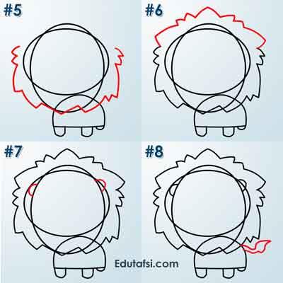 Cara menggambar kartun singa
