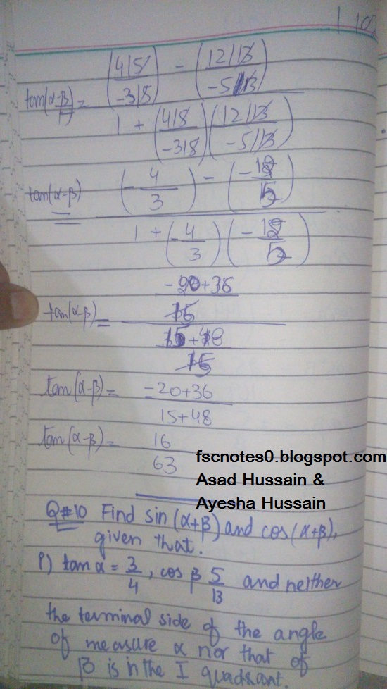 FSc ICS FA Notes Math Part 1 Chapter 10 Trigonometric Identities Exercise 10.2 Question 10 Written by Asad Hussain & Ayesha Hussain