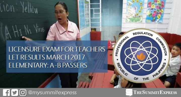A-B Passers List: LET Results March 2017 Elementary