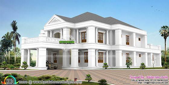 Colonial type sloping roof house