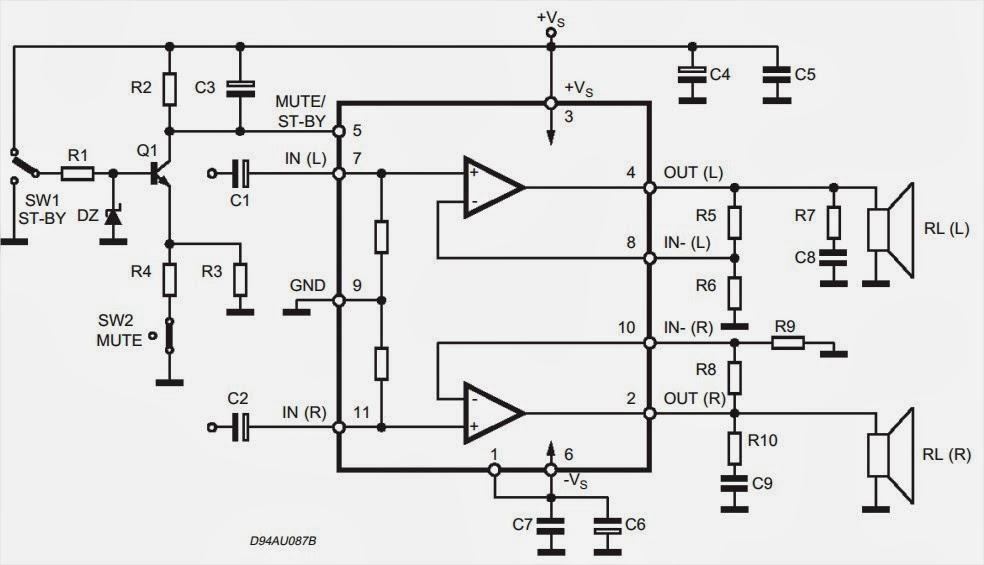 18 watt hi fi stereo audio power amplifier schematic circuit diagram