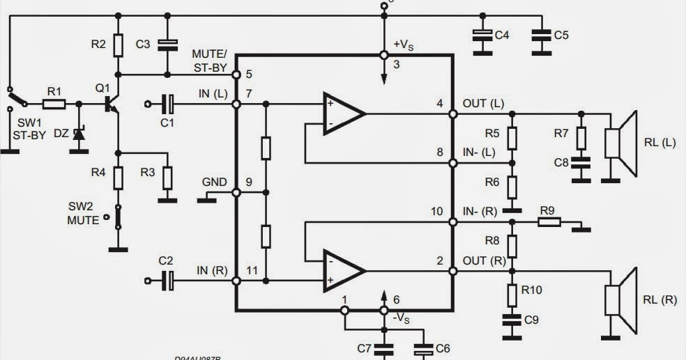 Wiring & diagram Info: TDA7265 Audio Amplifier 2x25W