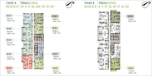 Sơ đồ mặt bằng căn hộ Jamila tháp B Khang Điền Quận 9