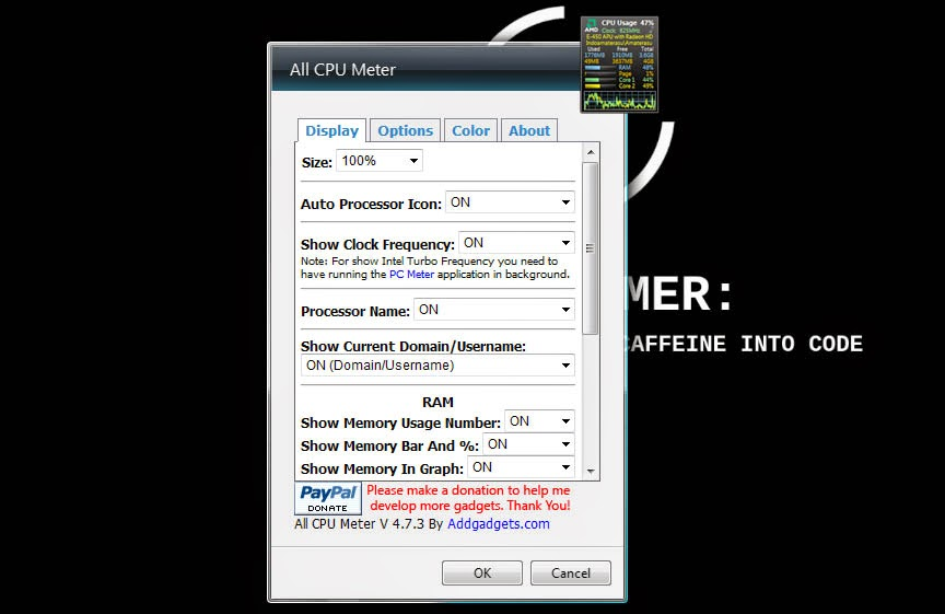 CPU Meter Gadget Untuk Windows 7 x64Bit 2