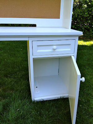 painted desk cabinet interior