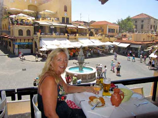 Pat Dunlap Lunch Hippocrates Square Old Town Rhodes Greece
