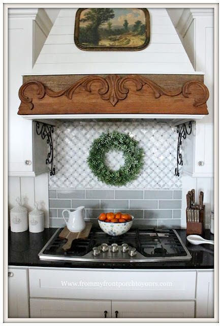 French Country Farmhouse Kitchen-French Farmhouse-Custom Range Hood-Custom Backsplash-From My Front Porch To Yours