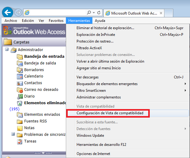 OWA de Exchange 2003 con Internet Explorer 10
