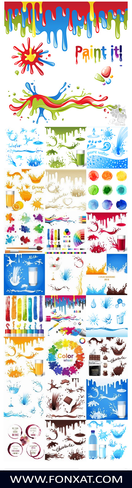 Download set of vector images spread liquid particles, chocolate, water, watercolor