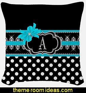 Diamonds & Dots Teal Woven Throw Pillow