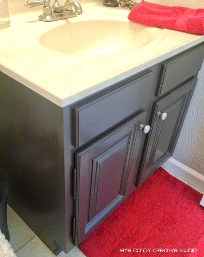 expresso bathroom cabinets, after pic of painted bathroom cabinets