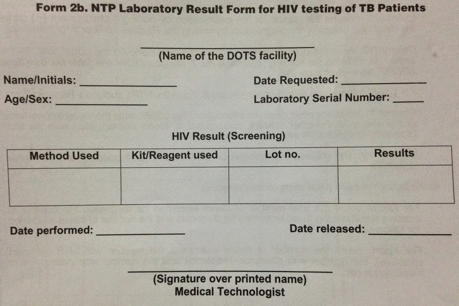 Public Health Resources Form 2b Ntp Lab Result Form For Hiv Testing