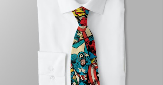 Retro Captain America Comic Book Pattern Neck Tie