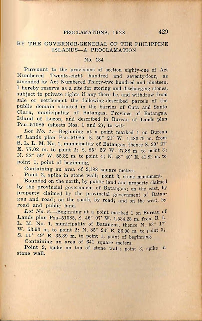 Proclamation No. 184 s. 1928 English version.