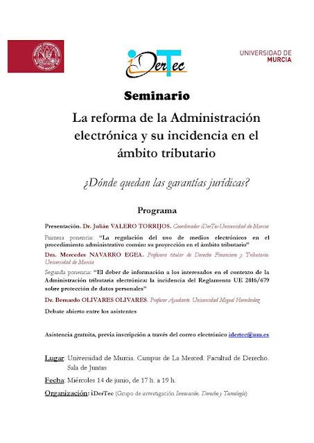 Seminario: La reforma de la Administración electrónica y su incidencia en el ámbito tributario.