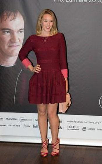 burgundy dress and red shoes